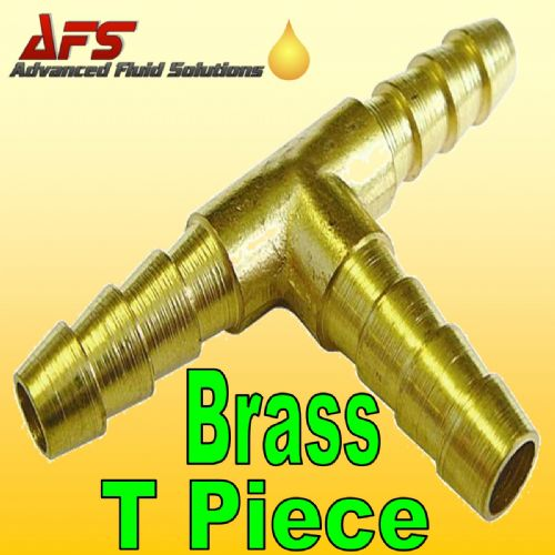 "6mm 1/4"" Brass Barbed T Piece 3 way Fuel Hose Joiner"